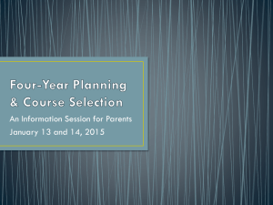 Four-Year Planning & Course Selection