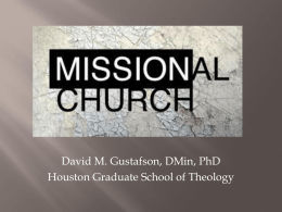 New Testament Models of Mission - Houston Graduate School of