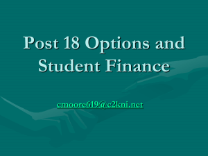 Post 18 Options and Student Finance