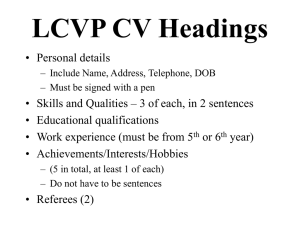 LCVP CV Headings