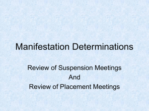 Manifestation Determinations - Exceptional Student Education