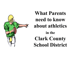 What Parents need to know about athletics in the Clark County