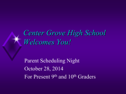 Parent Scheduling Night Presentation