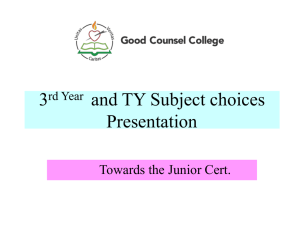 3rd Year and TY Subject choices 2014-15