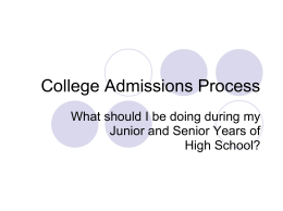 College Admissions Process Powerpoint