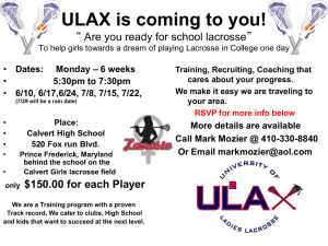 ULAX is coming to you! - Calvert County Girls Lacrosse