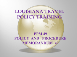Travel Policy Training Presentation on PPM49