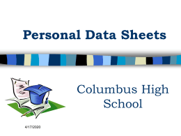 Personal Data Sheet PowerPoint