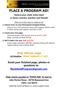 Black & Gold Affaire Event Program Advertising