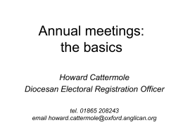 Annual meetings: the basics