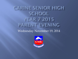 Year 7 2015Parent Evening Presentation