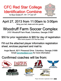 CFC Red Star College Identification Combine for Boys High School