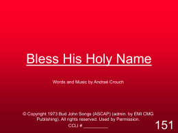 Bless His Holy Name - MISSION UNDER GRACE CHURCH