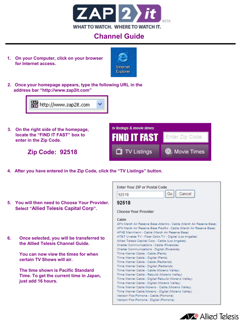 Channel Guide Zip Code Setup (Tivo)