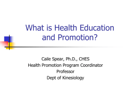 Health Promotion - Department of Kinesiology