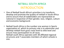 NETBALL SOUTH AFRICA INTRODUCTION