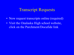 Transcript Requests - The School District of Onalaska