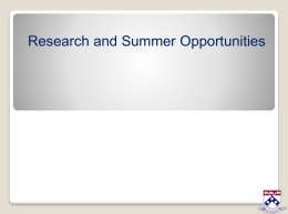 Research and Summer Opportunities