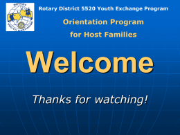 Rotary District 5520 Youth Exchange Program Transitions: Host Family
