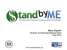Mary Dupont, Director of Financial Empowerment, State of Delaware