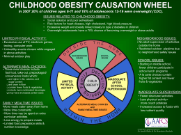 CHILDHOOD OBESITY CAUSATION WHEEL In 2007 20% of
