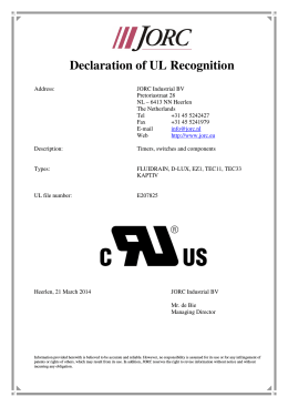 Declaration of UL Recognition