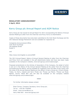 Kerry Group plc Annual Report and AGM Notice