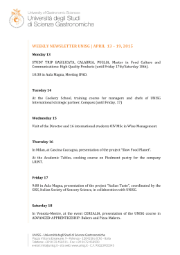 WEEKLY NEWSLETTER UNISG | APRIL 13 – 19, 2015