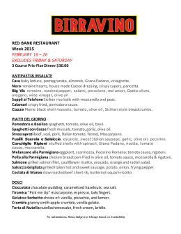 2015 Red Bank Restaurant Week Menu