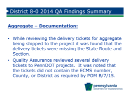 District 8-0 2014 QA Findings Summary