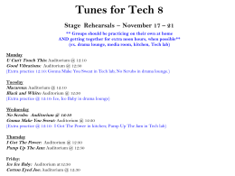 Tunes for Tech 8 Meetings and Rehearsals October 27 * 31