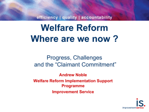 "Presentation: Progress, Challenges and the ""Claimant Commitment"""