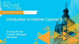 WCL 319: Introduction To Internet Explorer 9