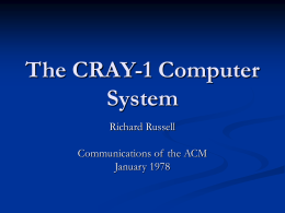 The CRAY-1 Computer System