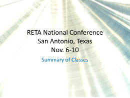 RETA National Conference San Antonio, Texas Nov. 6-10
