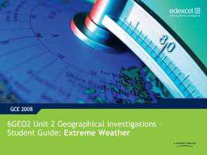 Support and guidance - Unit 2, topic 1 : Extreme Weather