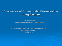 Economics of Groundwater Conservation to Agriculture