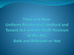 The Uniform Residential Landlord and Tenant Act