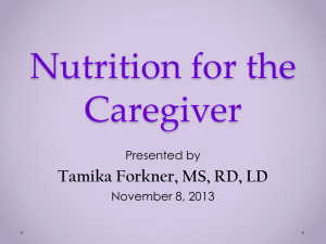 Nutrition for the Caregiver