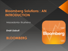 """Solutions for the community"", Mr.Endri Llabuti, Bloomberg"