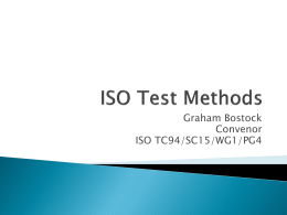 Graham Bostock: ISO Test Methods
