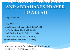 centrality of arabia and abraham`s prayer to allah