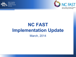 NC FAST Implementation Updates