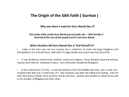 The Origin of the Sikh Faith