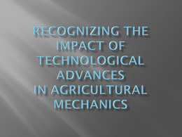 Recognizing the Impact of Technological Advances in Agricultural