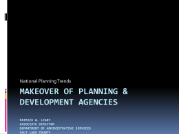 Makeover of planning & development agencies Patrick w