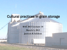 Lecture 13 Cultural Practices - Biosystems and Agricultural