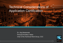 Technical Considerations of Application Certification