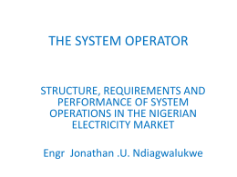 The-System-Operator - Nigeria Electricity Privatisation (PHCN)