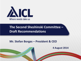 Draft Recommendations by Mr. Stefan Borgas , President & CEO, ICL